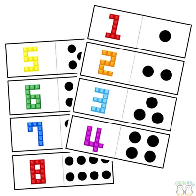 Picture of Numbers matching cards with dots lego numbers
