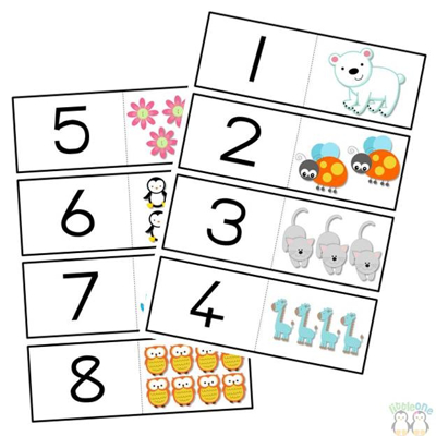 Picture of Numbers matching cards with pictures plain numbers