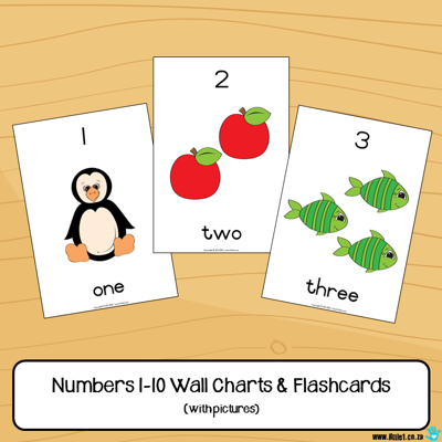 Picture of Flashcards & Wall Charts {Numbers 1-10} with pictures