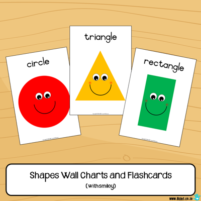 Picture of Flashcards & Wall Charts {Shapes} with smilley