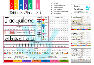 Picture of Grade 1 Tablemat {Editable Template}  for Teachers