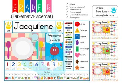 Picture of Grade R Placemat {Editable Template} for Teachers