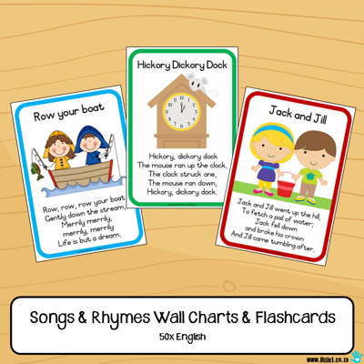 Picture of English Flashcards & Wall Charts {50x Songs & Rhymes}