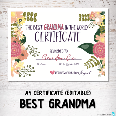 Picture of Best Grandma Certificate {Editable Template}